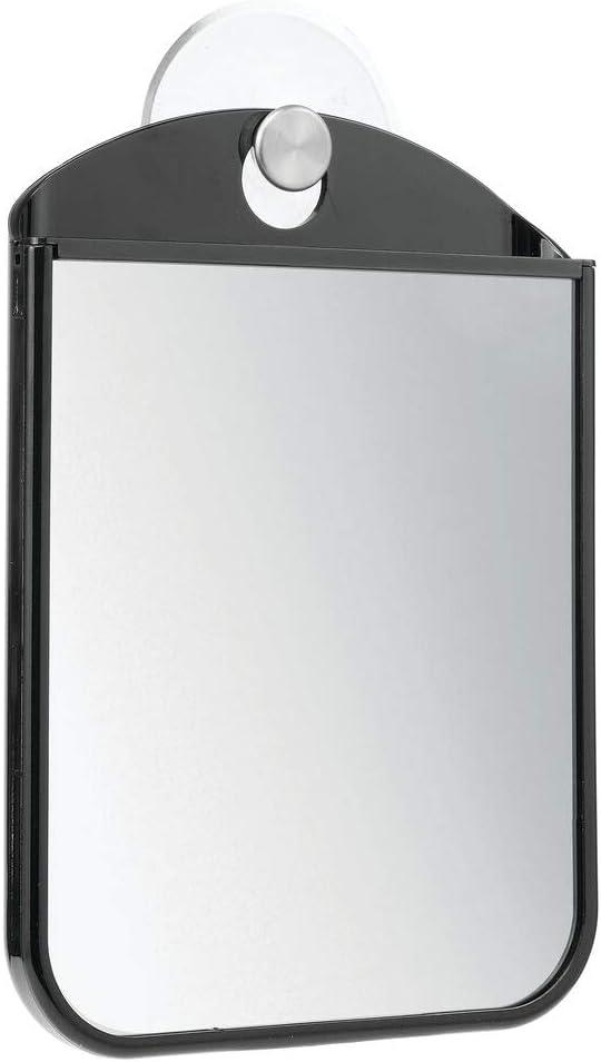 mDesign Specchio da Barba con Ventosa Perfetto Come specchietto Doccia e da Trucco Pratico Specchio antiappannamento da Appendere in Bagno Nero//Argento Opaco