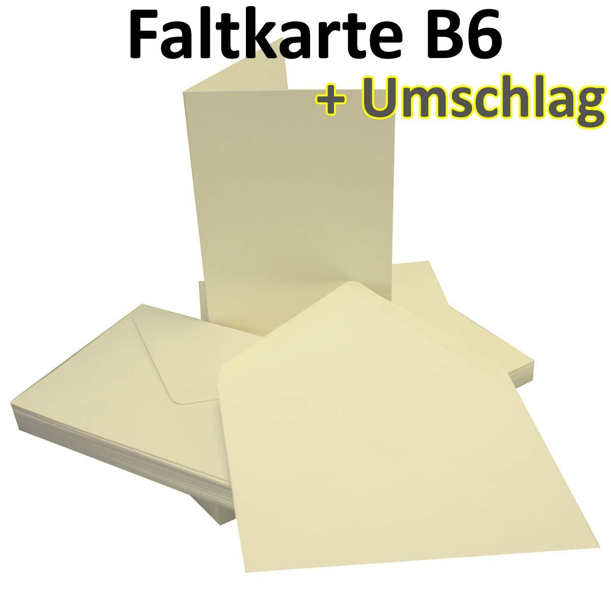 Cartes Pliantes DIN B6-115 x 170 mm bapt/ême Convient pour imprimante 10 Sets 81-Vanille Id/éal pour Cartes dinvitation Confirmation ind/éformable Communion Mariage