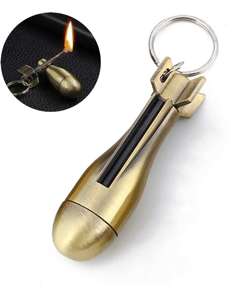 AIKENR Keychain Matchstick Fire Starter, Permanent Match Flint Metal Keychain Lighter, Great Kerosene Refillable Keychain Lighter for Outdoor Camping