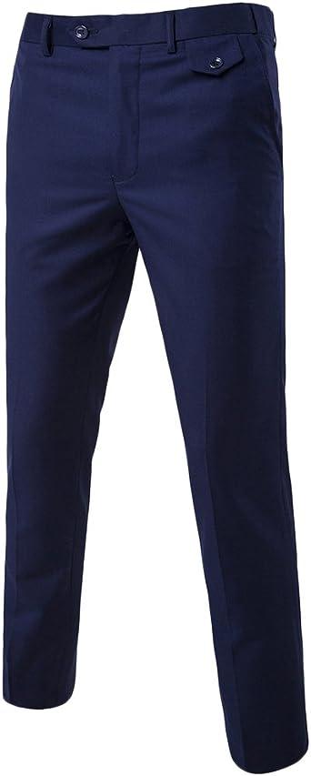 Quge Hombre Formal Elegante Casual Trabajo Pierna Recta Pantalones Oficina Pantalon Amazon Es Ropa Y Accesorios