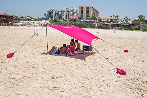 HappySummer Beach Tent with sandbag anchors—the portable, lightweight, 100% lycra SunShelter with UV protection. The perfect SunShade canopy for the entire family