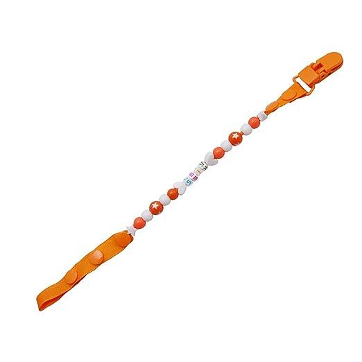 Canción de lino Naranja Candy cuentas bebés chupete clip ...