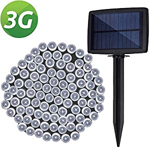LELLEL 3rd Generation Super Bright Solar Outdoor LED String Lights, Waterproof Weatherproof for Yard Patio Garden Tree Party Wedding Decoration, Cool White
