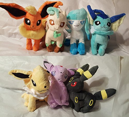 Pokemon Evee Evolutions Set of 7 Plush Figures (Pokemon Plush Evee Toys)