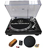 Audio-Technica ATLP120USB Professional Stereo Turntable w/ USB LP to DIG Recording Piano Black with RCA Turntable Cleaning System + Silicone Rubber Universal Turntable Platter Mat