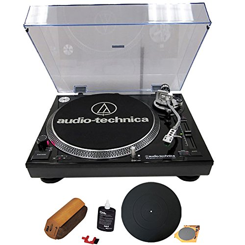 Audio-Technica ATLP120USB Professional Stereo Turntable w/USB LP to DIG Recording Piano Black with RCA Turntable Cleaning System + Silicone Rubber Universal Turntable Platter Mat