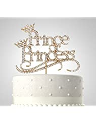 Rubies & Ribbons Prince or Princess Gold Metal with Rhinestones Baby Shower Cake Topper Party Decoration with Gift Box