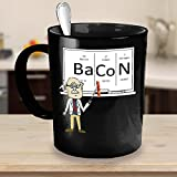 Bacon Chemistry Periodic Table Funny Professor Black Mug Gift