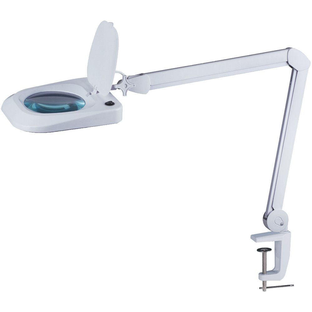 "Omano LED Magnifying Lamp (2x Magnifier) Professional Desktop, Reading, Hobby, and Task Use | Adjustable Arm, Bright Daylight Lighting | Clear 6"" Diopter Lens"
