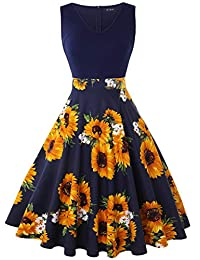 oten Women's Sleeveless V Neck Sewing Floral Print Contrast Evening Prom A Line Dress