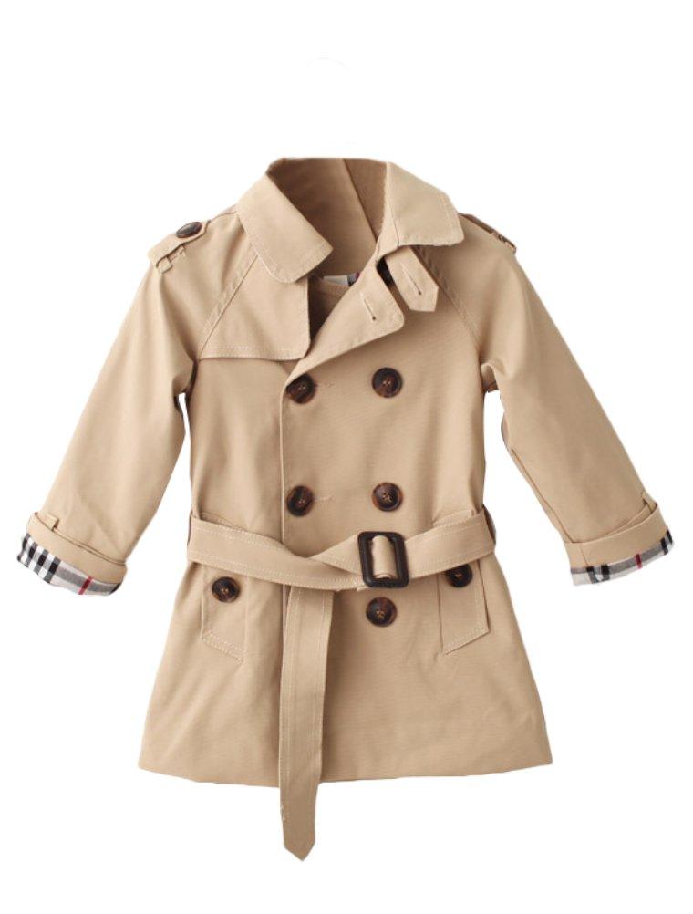 Mallimoda Girls Boys British Cotton Blend Trench Coat Jacket Double Breasted Khaki 1-2 Years