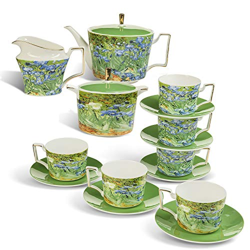 Tea Set Van Gogh Inspired - Real Bone China Tea Set by Gute (COMPLETE SET, 15 Pieces) : 1 Teapot, 1 Cream Pitcher, 1 Sugar Bowl, 6 Teacups & 6 Saucers.) (Iris Garden)