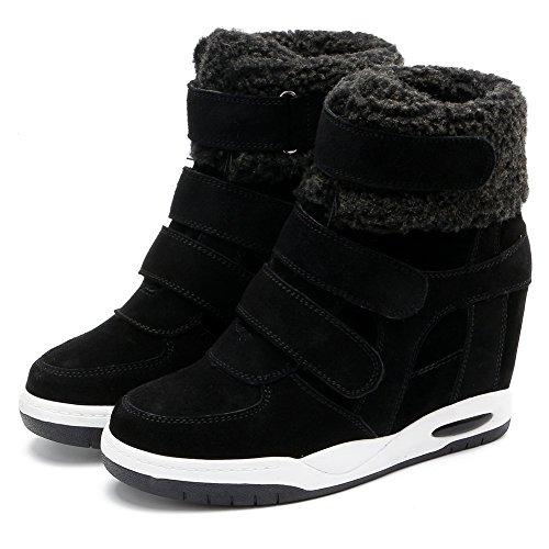 Zapatillas De Cuña U-mac High Top Para Mujer - Suela De Goma Antideslizante Tacón Oculto Punta Redonda Zapatos Casual De Plataforma Negro
