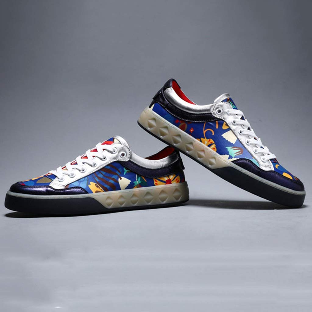 ChengxiO Shoes Mens Tide Shoes Spring 2019 New Leather Shoes Summer Leather Shoes Korean Casual Shoes Red Canvas Shoes Color : Blue, Size : 38