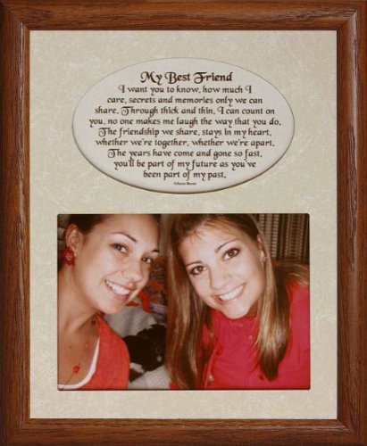 PersonalizedbyJoyceBoyce.com 8x10 My Best Friend ~ Photo & Poetry Frame w/Cream Matboard ~ Holds a Landscape 5x7 Photo! (FRUITWOOD)