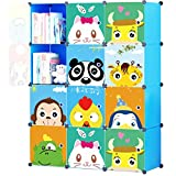 KOUSI Portable Kids Bookshelf Children Toy Organizer Multifuncation Cube Storage Shelf Cabinet Bookcase, Capacious & Study, Blue:12 Cubes