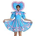 GOceBaby Adult Baby Sissy Lockable PVC Sweet Heart Blue Dress Uniform Crossdress XL