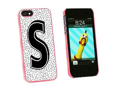 Graphics and More Letter S Initial Sprinkles Black White Snap-On Hard Protective Case for iPhone 5/5s - Non-Retail Packaging - Pink