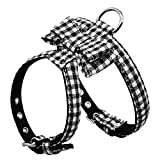 Kuntrona Adjustable Bowknot Dog Harness Soft Puppy Bowtie Harness Plaid Striped Necklace Acessories For Small Medium Pets Chihuahua Pug Black Plaid S