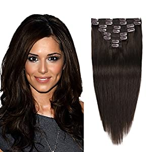 "Clip In Hair Extensions Human Hair Dark Brown 16"" 8pcs 102g Straight Clip On Hair Extensions Double Weft Remy Thick Hair Extensions Real Human Hair For Girls (12""-82g, 14""-92g, 16""-102g, 18""-112g)"