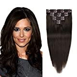 #10: Real Clip in Hair Extensions Dark Brown 8 Pieces - Premium Womens Straight Double Weft Thick Remy Hair Extensions Clip in on Human Hair for Short Hair (12