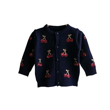 62789ce31 Amazon.com  Cherry Knitted Baby Girls Sweaters Kids Autumn Sweater ...
