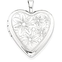 IceCarats 925 Sterling Silver 20mm Daisies Heart Photo Pendant Charm Locket Chain Necklace That Holds Pictures With