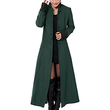 Amazon.com: Partiss Womens Elegant Super Long Slim Fit Trench ...