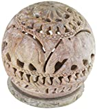 Crossingsevenseas Stone Tealight Holder with Flower Motifs and Intricate Tendril Openwork - Decorative Home Decor Soapstone Centerpiece - Diwali Gifts From India