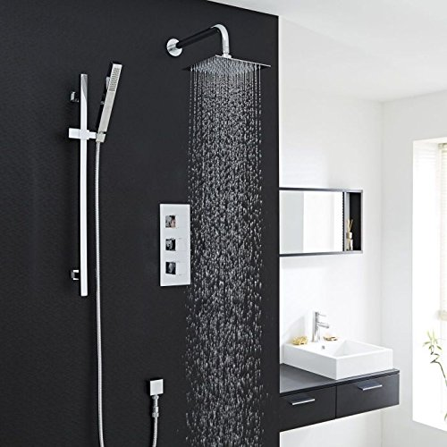Smart Rail Spa - Hudson Reed Contemporary Chrome Thermostatic Shower System with Kubix Style Rainfall Shower Head, Slider Rail Kit, Wall Arm, Hand Shower & Hose
