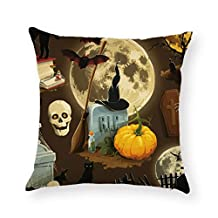 1PC Pillow Cover - Woaills Halloween Removable and Washable Pumpkin Ghost Cotton Linen Sofa Cushion Home Decor Cases With Invisible Zipper (E)