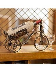 Spritech TM European Vintage Style Bronze Colored Tricycle Vintage Wine Rack Bottle Elegant Bottle Iron Holder