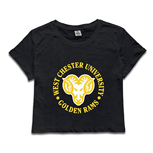 Custom Woman West Chester University Golden Midriff Tshirt Size XL Black (Crystal Maternity Tee)