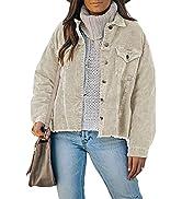 Dokotoo Womens Corduroy Jackets Button Down Long Sleeve Casual Shacket Coats Outwear