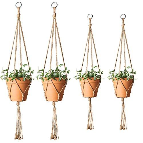 Mkono Plant Hangers Indoor Hanging Planter Jute Rope Basket Flower Pot Holder for Indoor Outdoor, 4 Pack, 41 inch and 48 (Hanging Basket Holder)