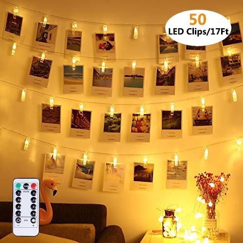 Vennke 50 LED Photo Clips String Lights/Holder, Dimmable 8 Modes Remote & Timer Function Dual Powered Choice, Fairy Wedding Party Christmas Decor Lights for Hanging Photos Pictures Cards Artworks
