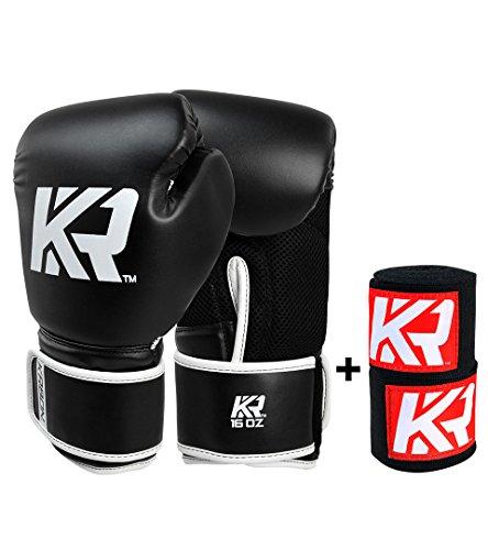 KRBON Black Boxing Gloves 12 oz (Free Hand Wraps) ()