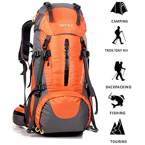 ONEPACK 50L(45+5) Hiking Backpack Daypack Waterproof Outdoor Sport Camping Fishing Travel Climbing Mountaineering Cycling Skiing with Rain Cover (Orange)