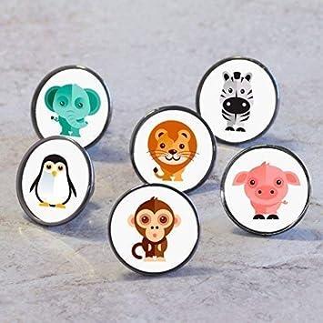 Pushka Home Perillas de Puerta de Armario para Mascotas de carácter Animal (pingüino)