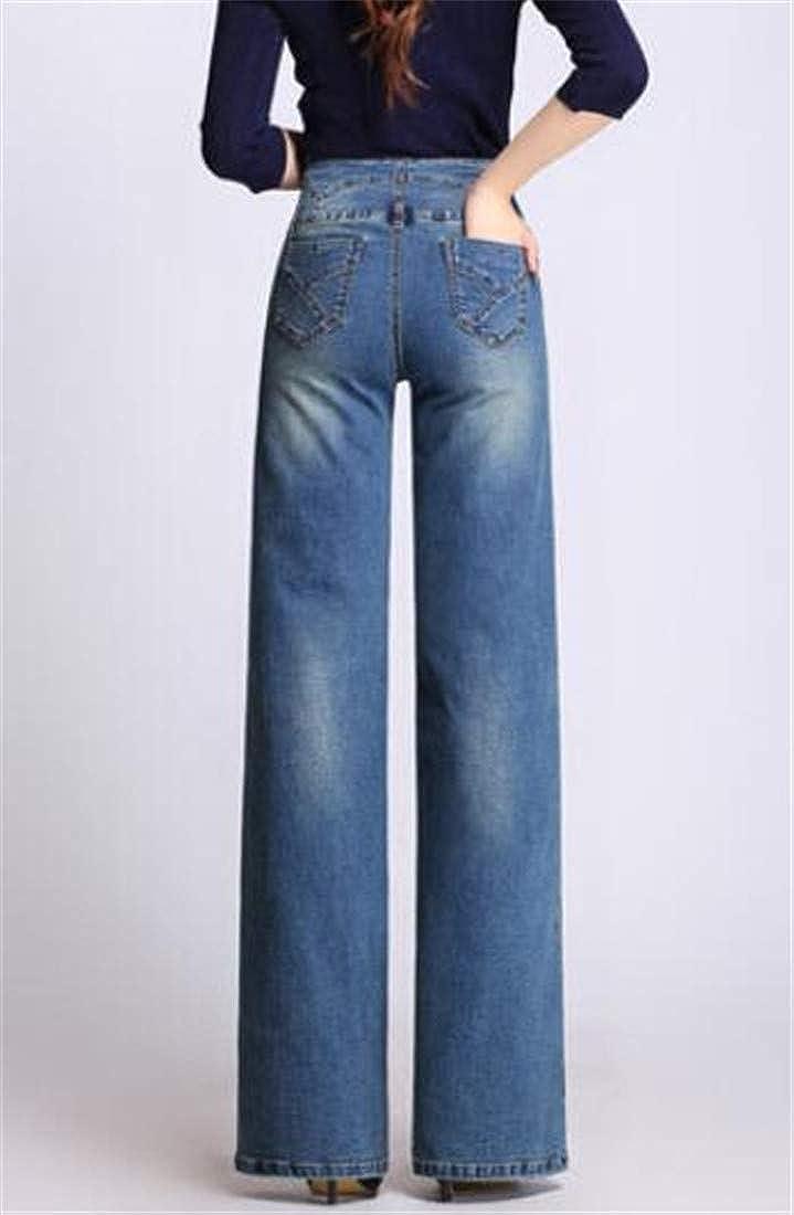 Pandapang Womens Denim Basic Jeans Palazzo High Waist Trousers Wide Leg Pants