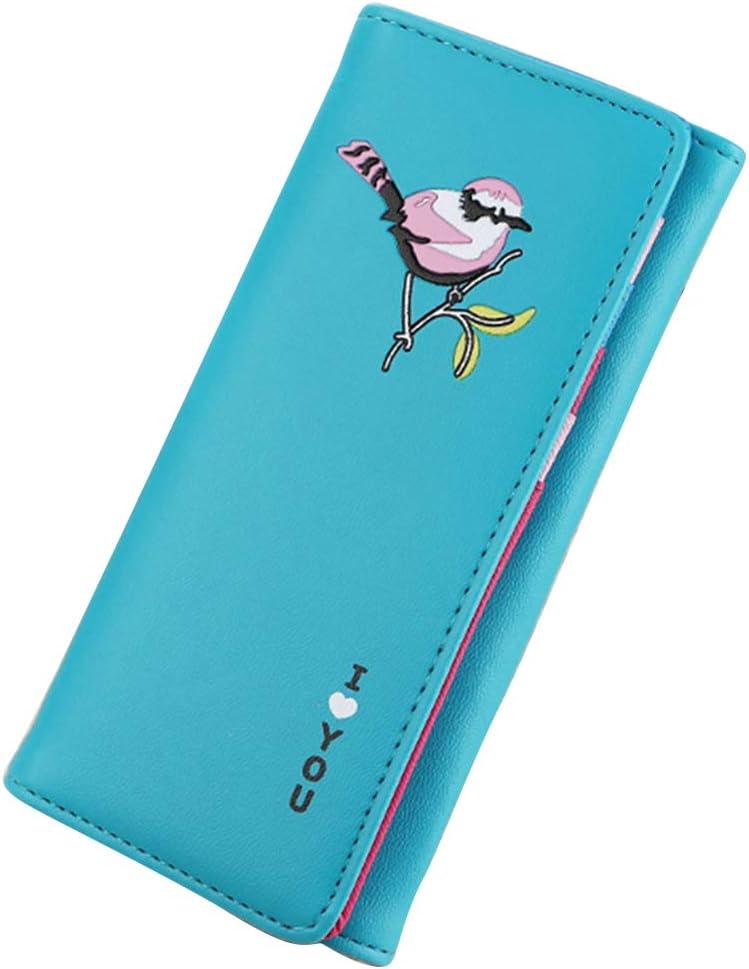 YESMAEA Long Bird Bifold Wallet Long Clutch Purse PU Leather Card Holder,Black