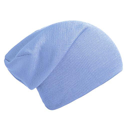 suave y de clásico DonDon diseño de gorro Azul Celeste slouch abrigo beanie gorro moderno invierno wxqafxnC7