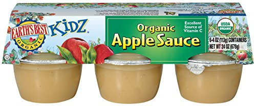 Earth's Best Organic Kidz Apple Sauce, 4 oz. Cups (Pack of 6)