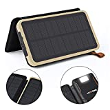 Solar Power Bank,Portable 24000mAh Solar Chargers High Capacity Solar Panel Cellphone Chargers Waterproof/Shockproof/Dustproof Solar External Battery Dual USB Backup with Strong LED Lights for IPhone,Android and More USB Devices