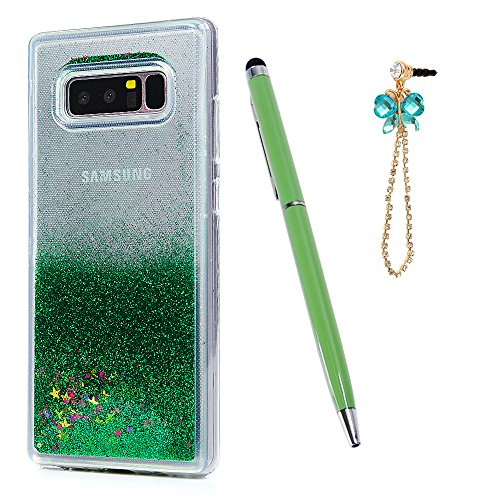 Note 8 Case, Galaxy Note 8 Case, Liquid Case Cover Glitter Quicksand Bling Shiny Flowing Moving Free Star Soft Flexible TPU Full Body Slim Fit Lightweight Bumper with Pen Dust Plug ZSTVIVA - Green -