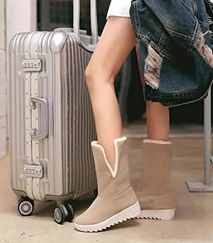 Casual Invierno Nieve Zapatos Antideslizante Forrado Bowknot Botines Dooxi Calentar Moda Caqui Botas Mujer 5q8q1Ha