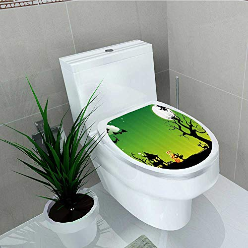 Printsonne Toilet Seat Wall Stickers Paper Witch Dancing Around The Fire Halloween Ancient Western Horror Decals DIY Decoration W13 x L18