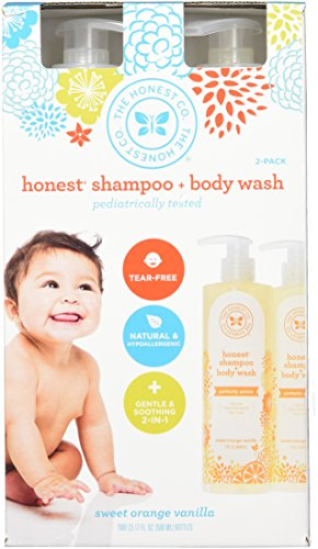 The Honest Company  2 In 1  Body Wash  Shampoo  Sweet Orange  Vanilla  2   17 Fl  Oz   500 Ml  Bottles  And 1 Free Baby Magic Fragrance Gentle Baby Wipes Pack Of 72 Ct