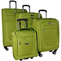 "Ricardo Eureka 4 Piece Deluxe Superlight Luggage Set: 30"", 26"", 21"", and Underseat Bag (Citron)"