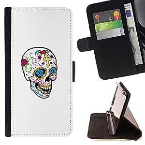 BullDog Case - FOR/Apple Iphone 6 PLUS 5.5 / - / HAPPY SKULL SPRING DEATH WHITE CLEAN /- Monedero de cuero de la PU Llevar cubierta de la caja con el ID Credit Card Slots Flip funda de cuer